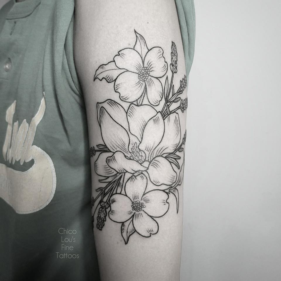 Linework flowers by Chico Lou's Fine Tattoos shop in Athens Georgia GA. Artist - Sara Fogle