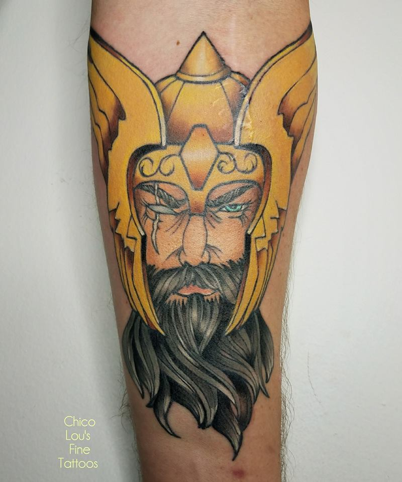 Odin by Chico Lou's Fine Tattoos shop in Athens Georgia GA. Artist - Sara Fogle