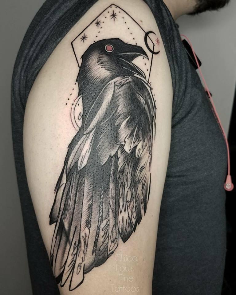 Blackwork crow by Chico Lou's Fine Tattoos shop in Athens georgia GA. Artist - Sara Fogle