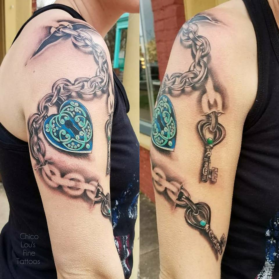 Lock key and chain by Chico Lou's Fine Tattoos shop in Athens Georgia GA. Artist - Sara Fogle