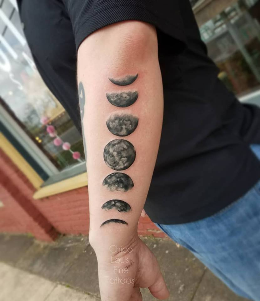 Moon phases by Chico Lou's Fine Tattoos shop in Athens Georgia GA. Artist - Sara Fogle