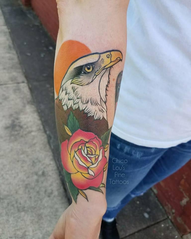 Eagle and Rose by Chico Lou's Fine Tattoos shop in Athens Georgia GA. Artist - Sara Fogle