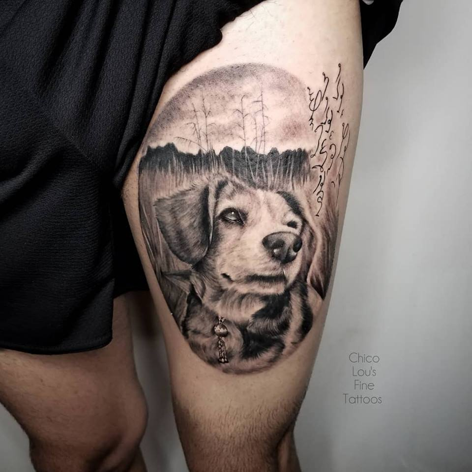 Pet protrait by Chico Lou's Fine Tattoos shop in Athens Georgia GA. Artist - Sara Fogle