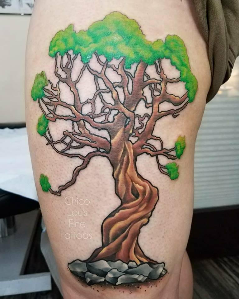 Tea tree by Chico Lou's Fine Tattoos shop in Athens Georgia GA. Artist - Sara Fogle