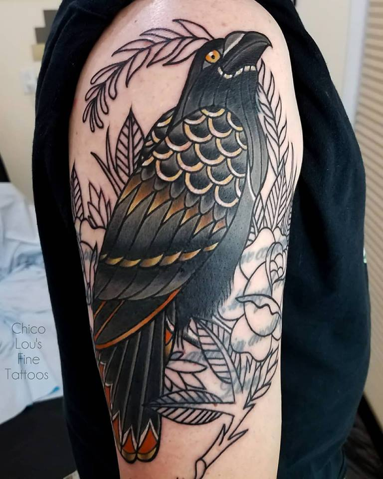 Crow cover-up by Chico Lou's Fine Tattoos shop in Athens Georgia GA. Artist - Sara Fogle