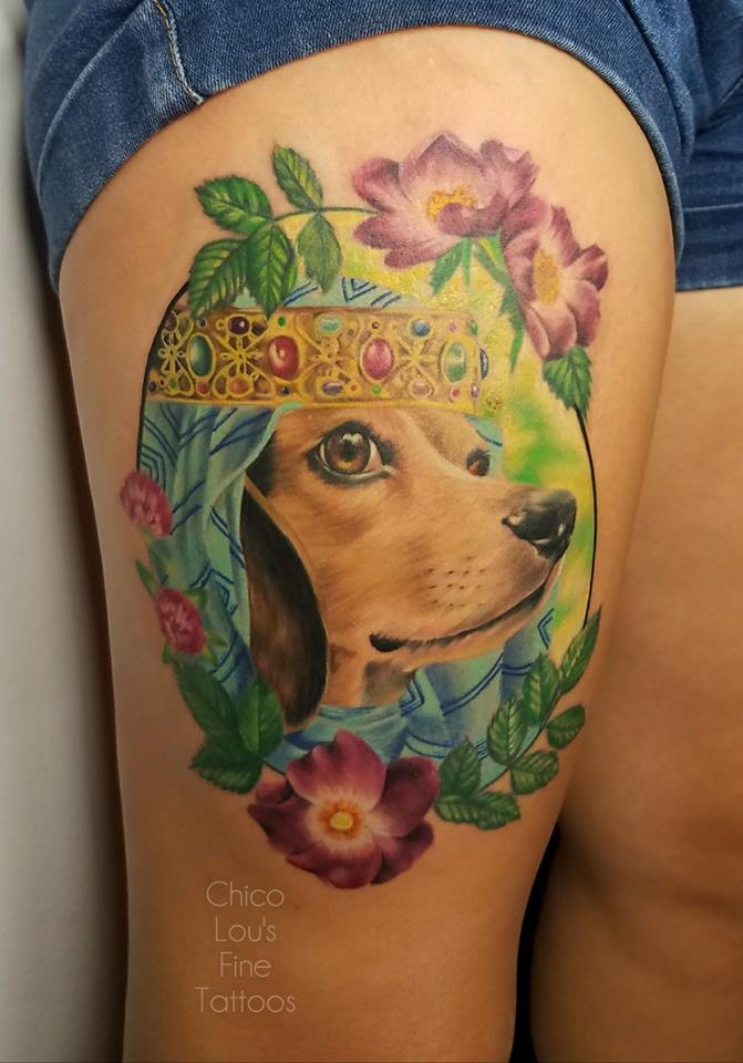 Fair maiden Eva by Chico Lou's Fine Tattoos shop in Athens Georgia GA. Artist - Sara Fogle