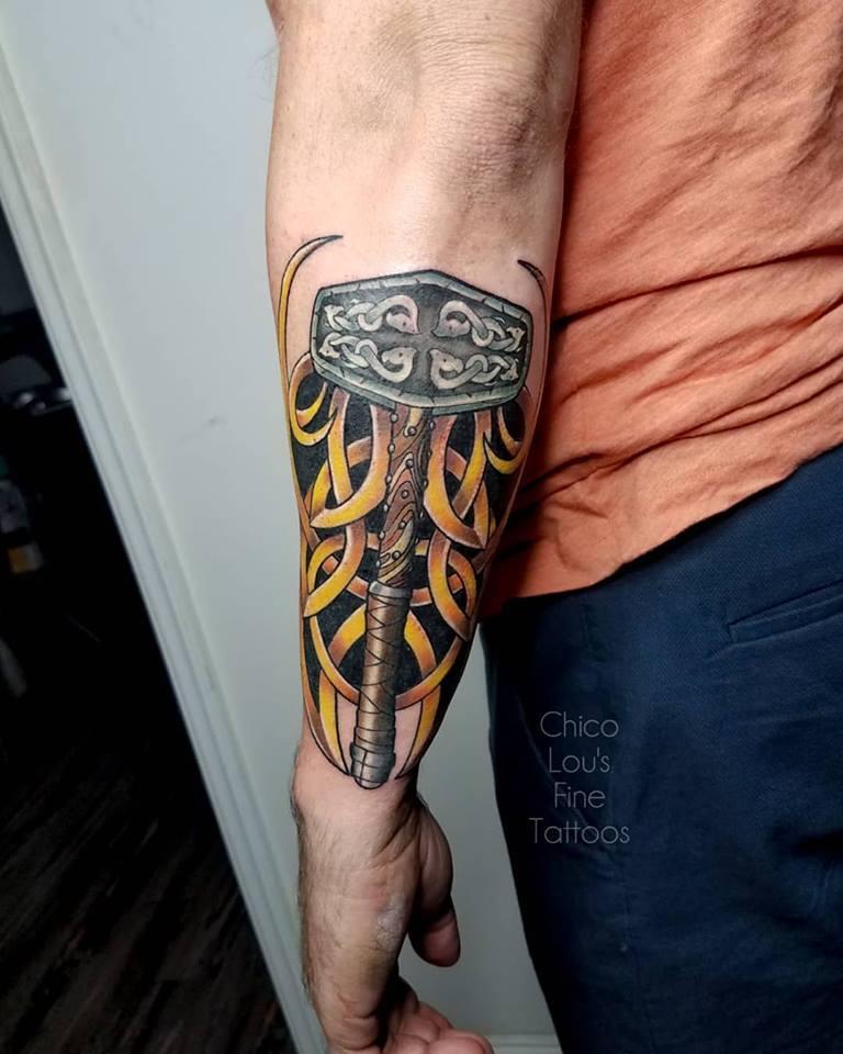 Thor's hammer Mjolnir by Chico Lou's Fine Tattoos shop in Athens Georgia GA. Artist - Sara Fogle