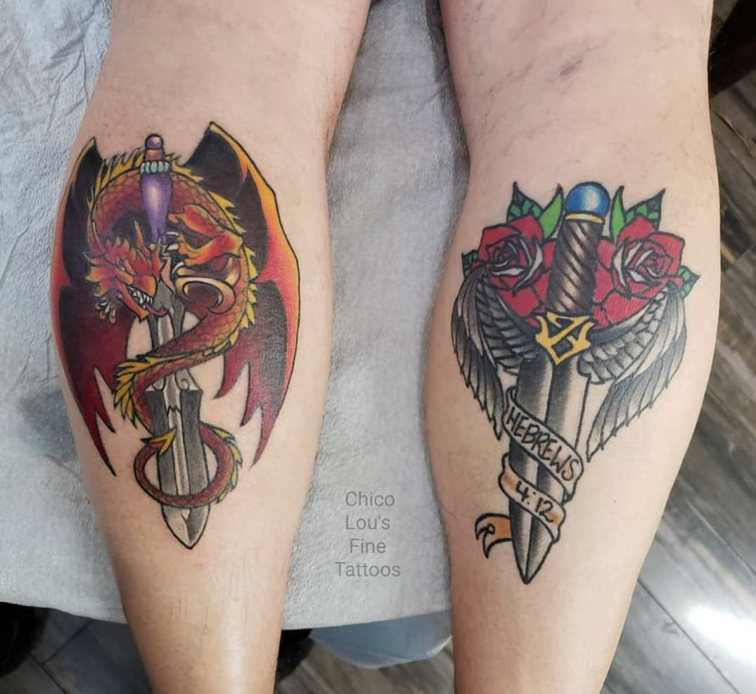 Dragon and knife by Chico Lou's Fine Tattoos shop in Athens Georgia GA. Artist - Sara Fogle