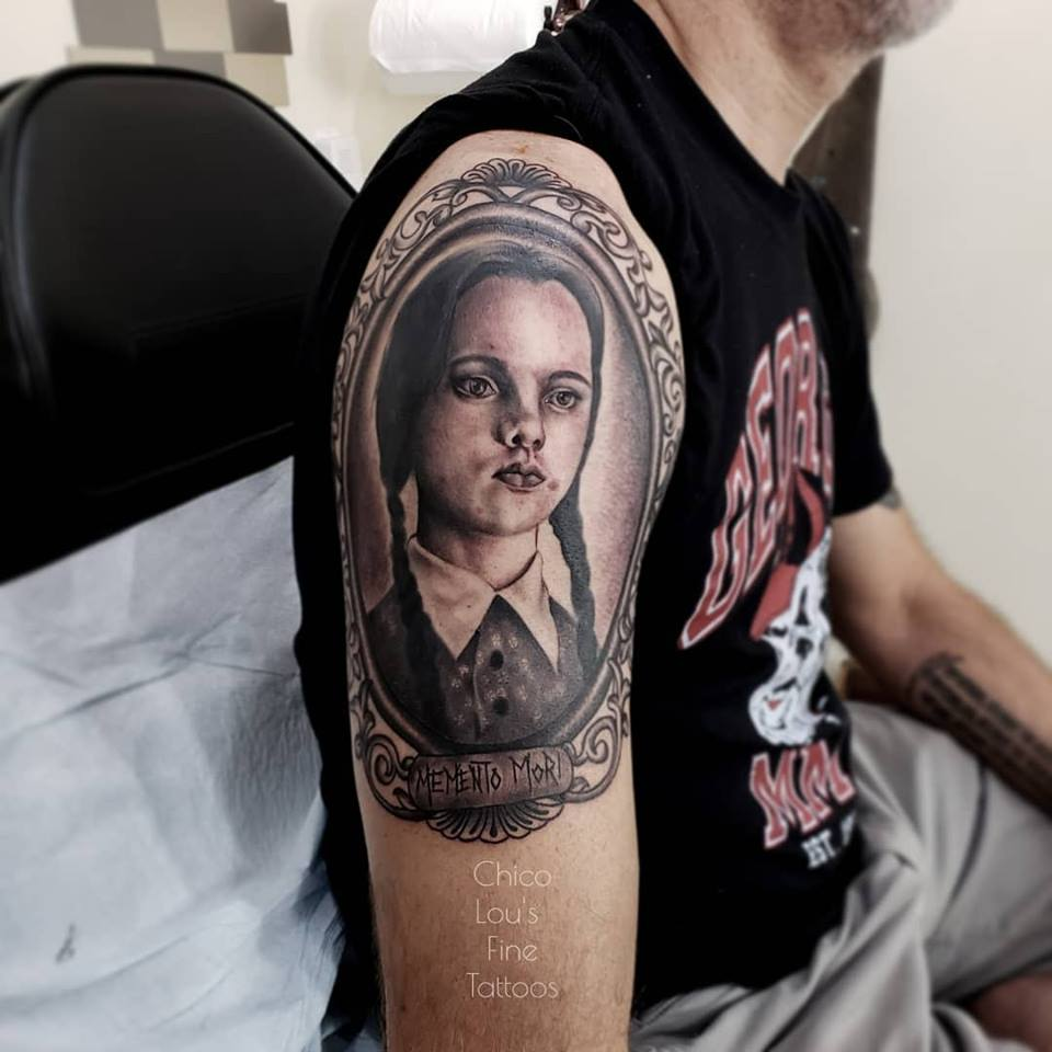 Wednesday Addams by Chico Lou's Fine Tattoos shop in Athens Georgia GA. Artist - Sara Fogle