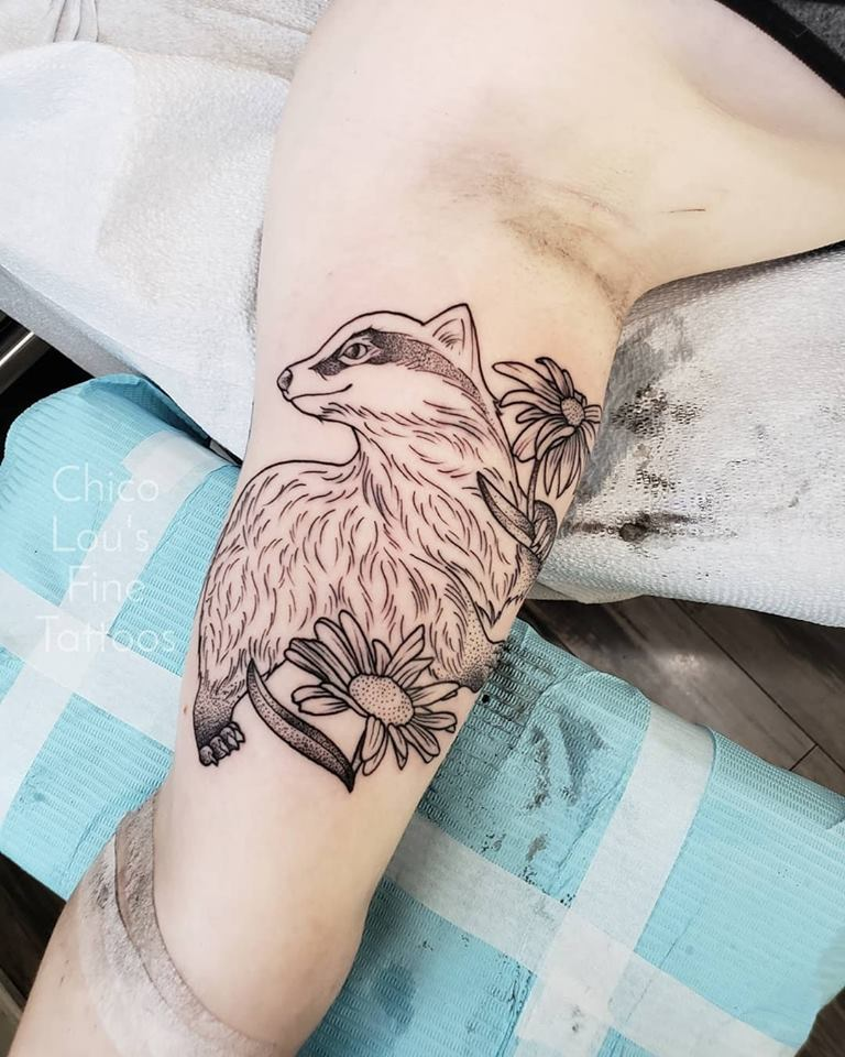 Badger by Chico Lou's Fine tattoos shop in Athens Georgia GA. Artist - Sara Fogle