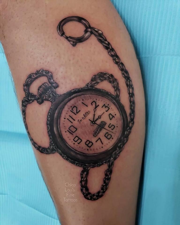 Realistic pocket watch by Chico Lou's Fine Tattoos shop in Athens Georgia GA. Artist - Sara Fogle