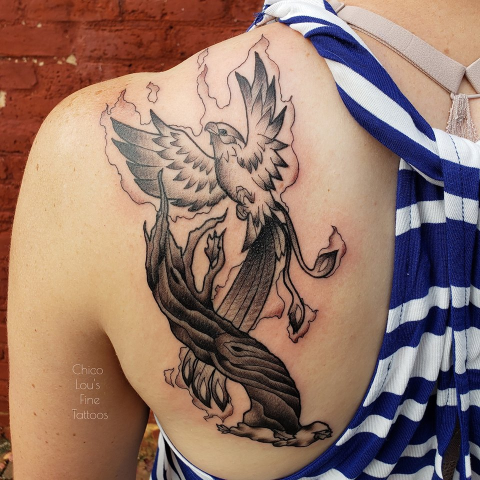 Firebird by Chico lou's Fine tattoos shop in Athens Georgia GA. Artist - Sara Fogle
