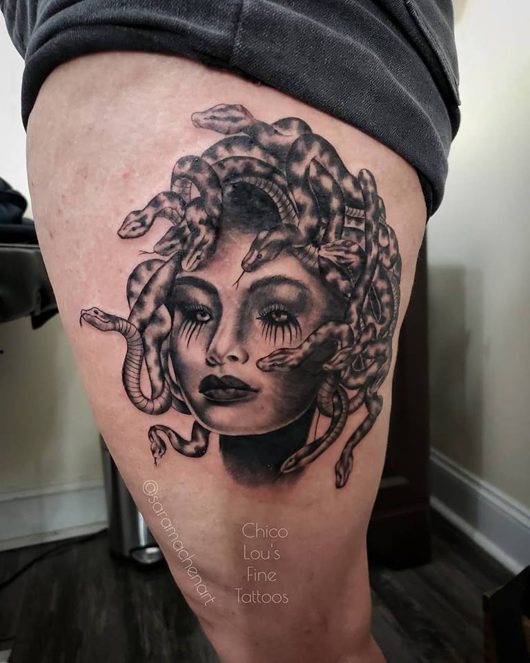 Medusa by Chico Lou's Fine Tattoos shop in Athens Georgia GA. Artist - Sara Fogle
