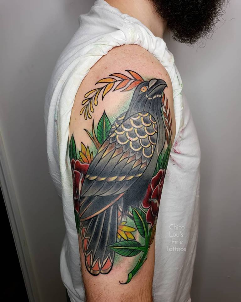 Raven and roses cover up by Chico Lou's Fine tattoos shop in Athens Georgia GA. Artist - Sara Fogle
