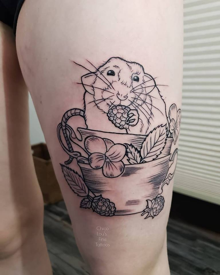Teacup rat by Chico Lou's Fine Tattoos shop in Athens Georgia GA. Artist - Sara Fogle