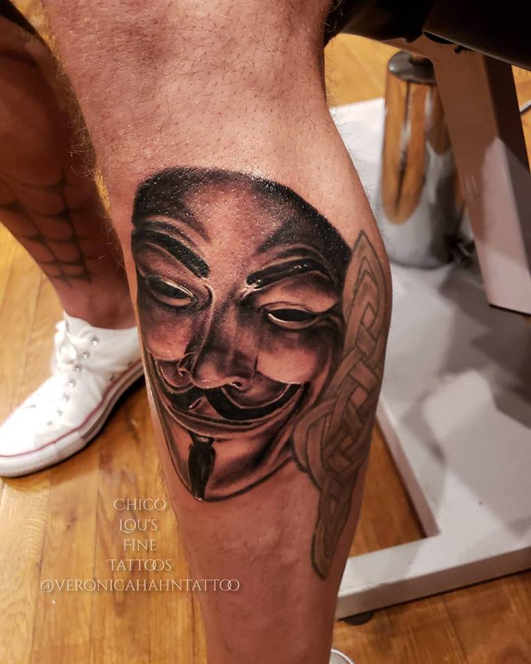 Guy Fawkes mask by Chico Lou's Fine Tattoos shop in Athens Georgia GA.. Artist - Veronica Hahn