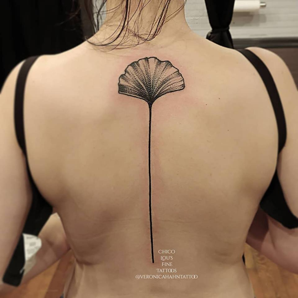 Ginkgo leaf by Chico Lou's Fine tattoos shop in Athens Georgia GA. Artist - Veronica Hahn