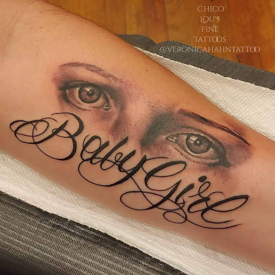 Daughter's eyes by Chico Lou's Fine Tattoos shop in Athens Georgia GA. Artist - Veronica Hahn