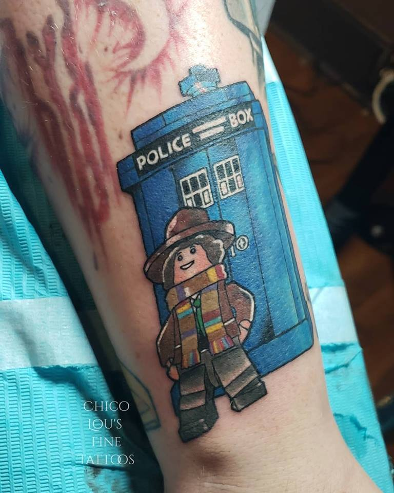 LEGO Dr. Who and T.A.R.D.I.S. by Chico lou's Fine Tattoos shop in Athens Georgia GA. Artist - Sara Fogle