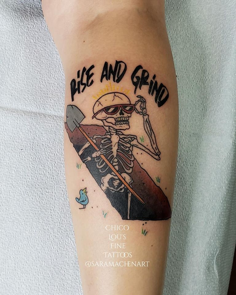 Rise and Grind by Chico Lou's Fine Tattoos shop in Athens Georgia GA. Artist - Sara Fogle