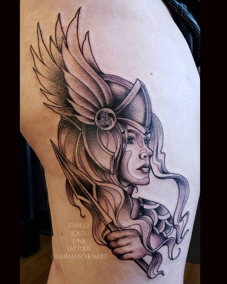 Valkyrie by Chico Lou's Fine tattoos shop in Athens Georgia GA. Artist - Sara Fogle