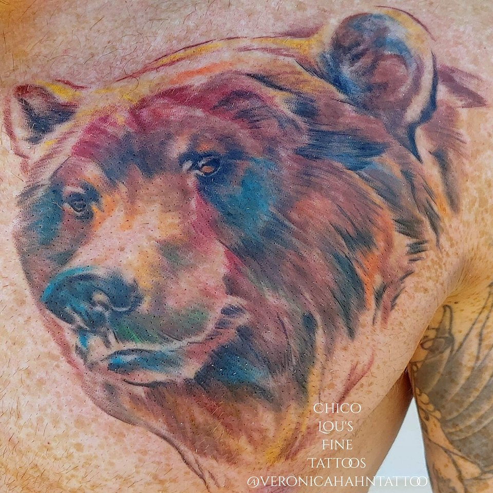 Watercolor bear by Chico Lou's Fine tattoos shop in Athens Georgia GA. Artist - Veronica Hahn
