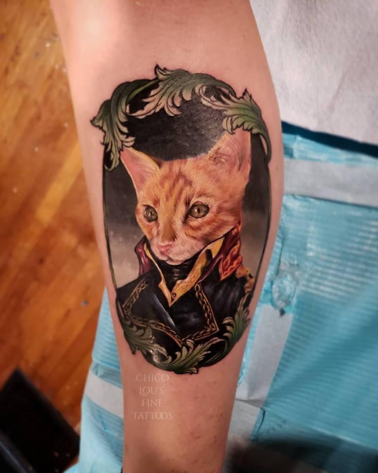 The Baron by Chico Lou's FIne Tattoos shop in Athens Georgia GA. Artist - Sara Fogle