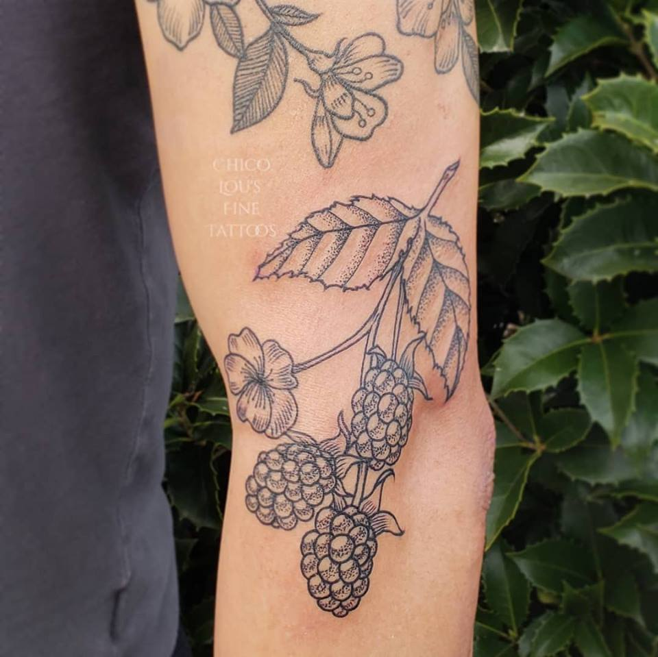 Berries by Chico Lou's Fine Tattoos shop in Athens Georgia GA. Artist - Sara Fogle