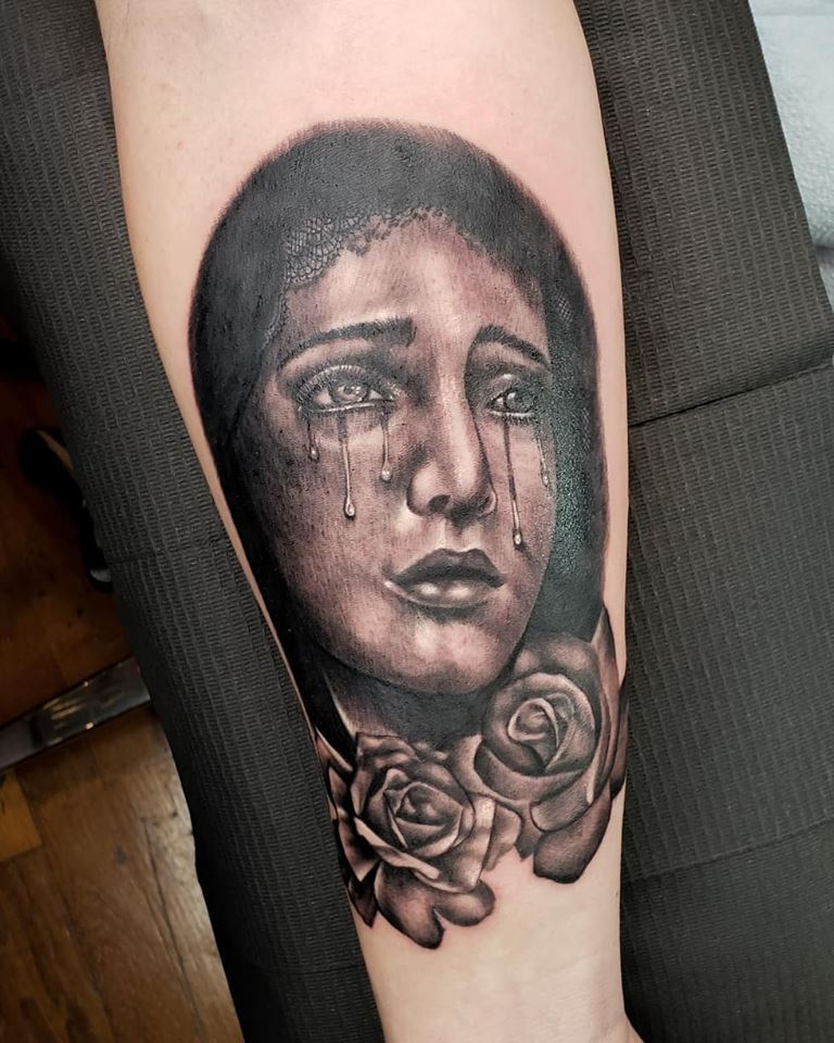 Mother Mary by Chico Lou's Fine Tattoos shop in Athens Georgia GA. Artist - Sara Fogle