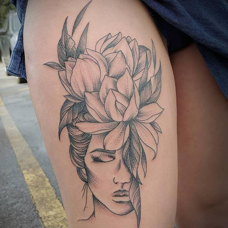 Blackwork linework by Chico Lou's FIne Tattoos shop in Athens Georgia GA. Artist - Veronica Hahn