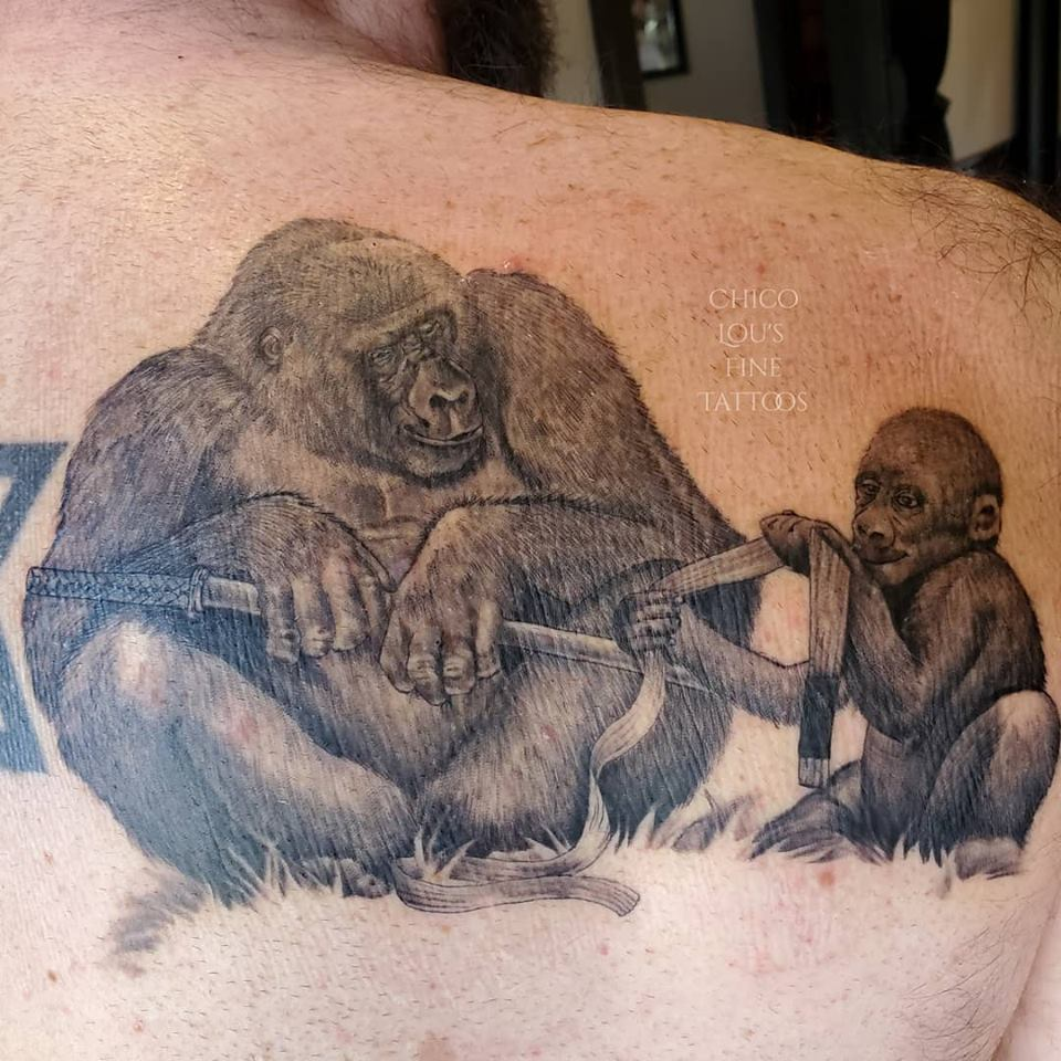 Silverback gorilla By Chico Lou's Fine Tattoos shop in Athens Georgia GA. Artist - Sara Fogle