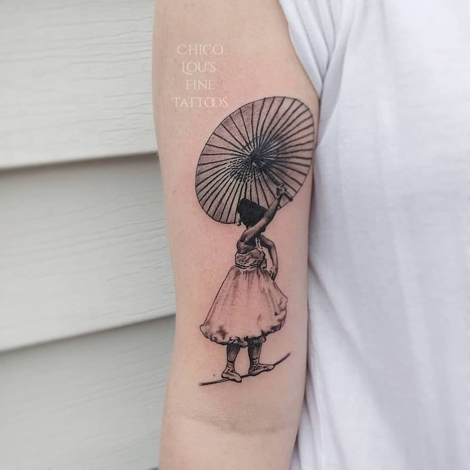 Tightrpe walker by Chico Lou's Fine Tattoos shop in Athens Georgia GA. Artist - Veronica Hahn