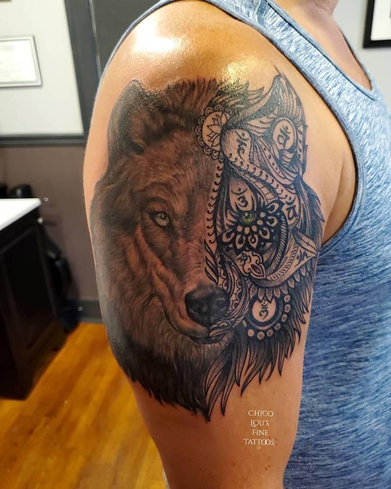 Wolf by Chico Lou's Fine Tattoos shop in Athens Georgia GA. Artist - Sara Fogle