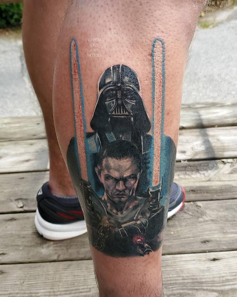 Starkiller and Darth Vader by Chico Lou's Fine tattoo studio in Athens Georgia GA. Artist - Sara Fogle