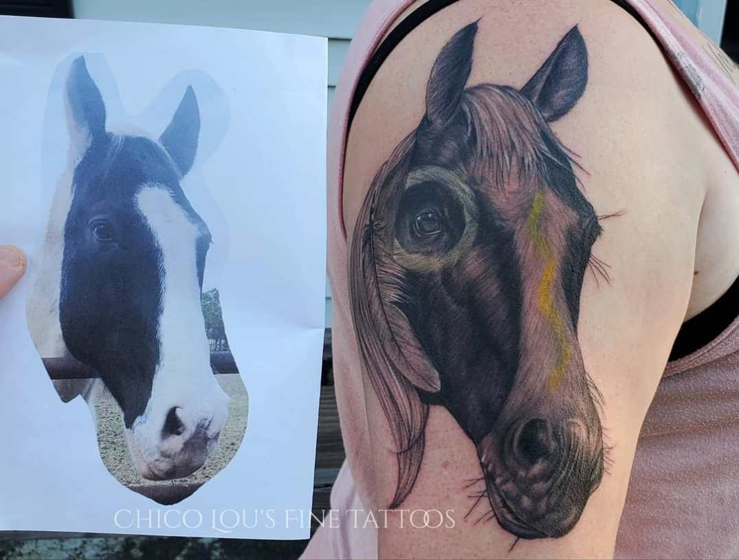Horse by Chico Lou's Fine Tattoos studio in Athens Georgia GA. Artist - Sara Fogle