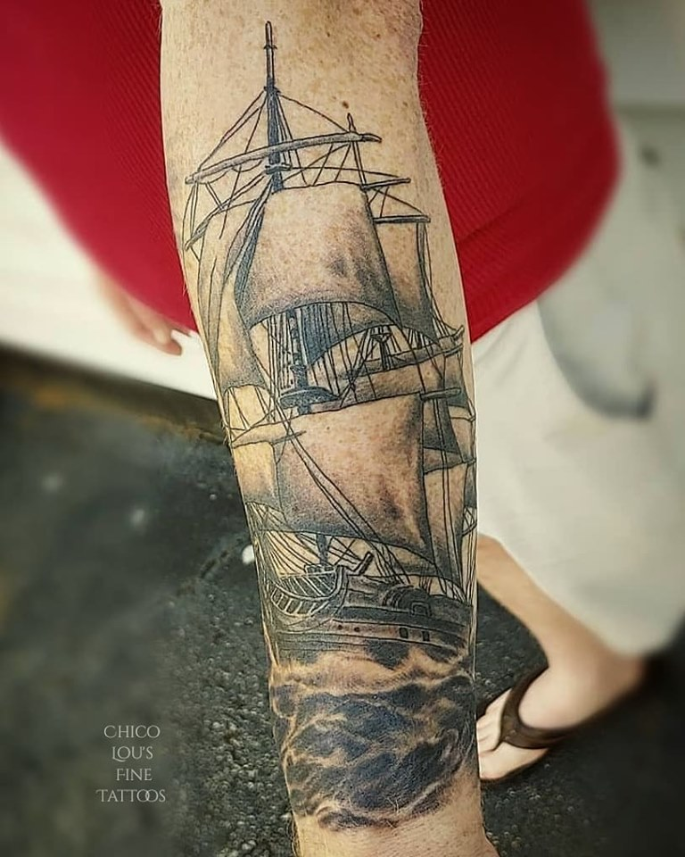 Tall ship by Chico Lou's Fine Tattoo studio in Athens Georgia GA. Artist - Veronica Hahn