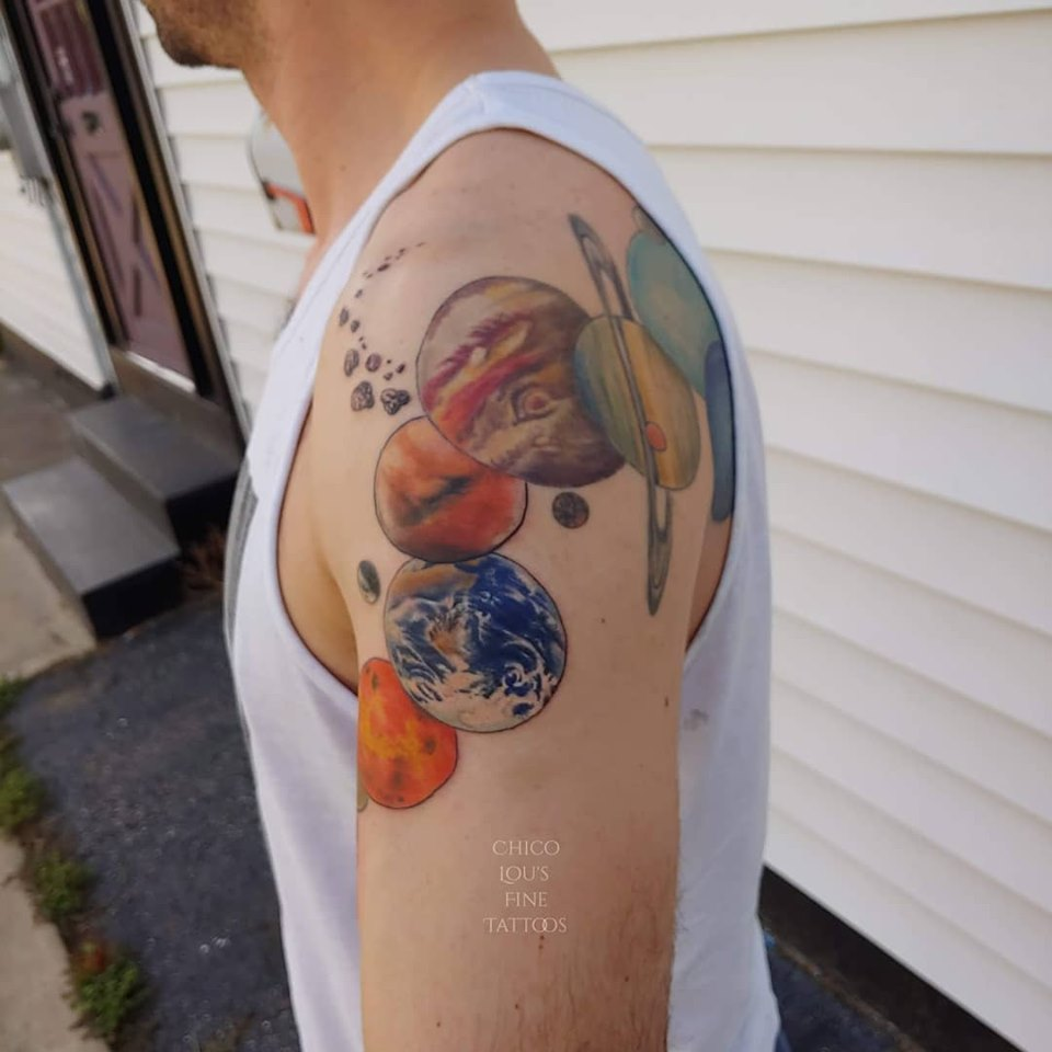 Solar System by Chico Lou's Fine Tattoos studio in Athens Georgia GA. Artist -Veronica Hahn