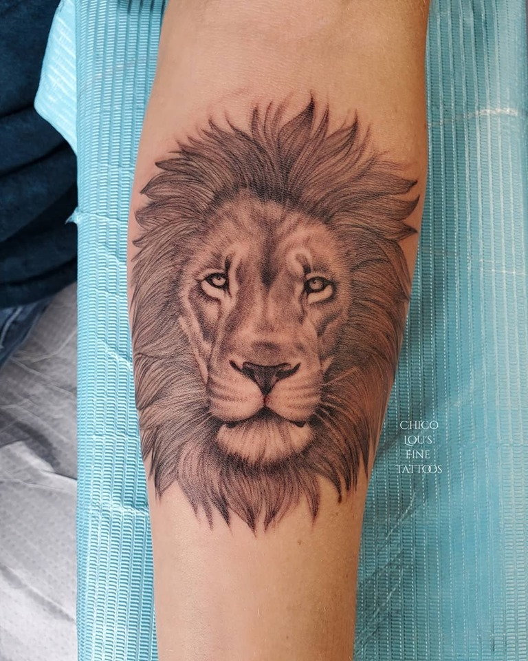 Lion by Chico Lou's Fine tattoo shop in Athens Georgia GA. Artist - Sara Fogle