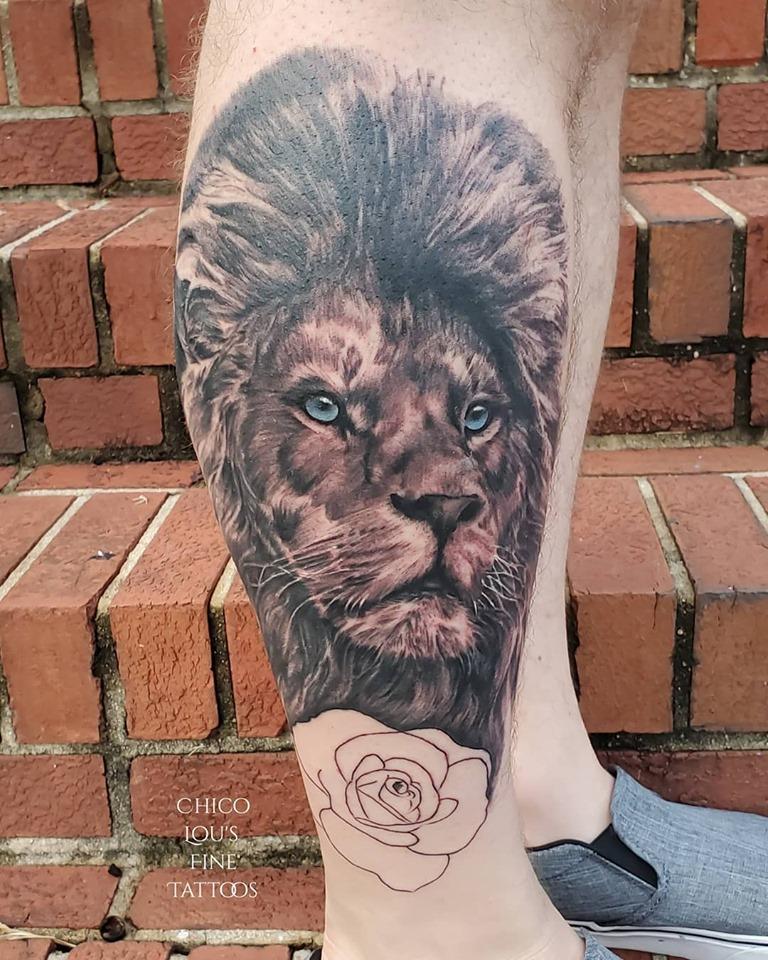 Lion by Chico Lou's Fine Tattoos shop in Athens Georgia GA. Artist - Veronica hahn