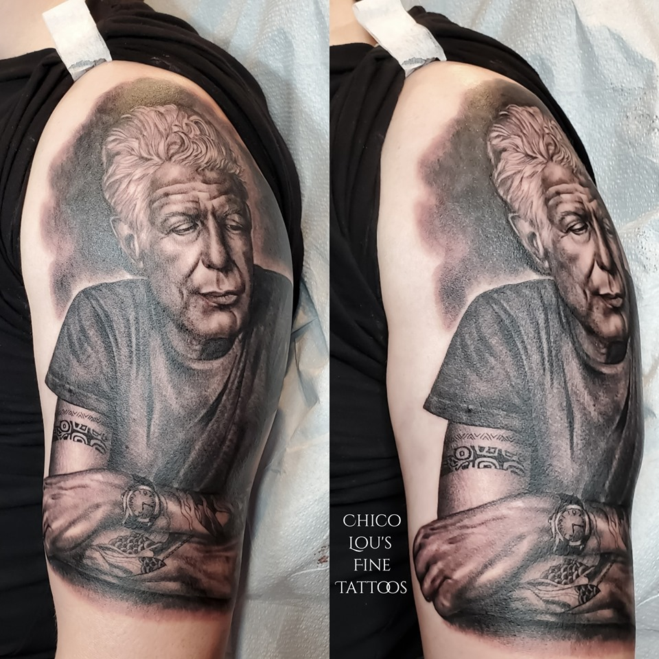 Anthony Bourdain by Chico Lou's Fine tattoos studio in Athens Georgia GA. Artist - Sara Fogle