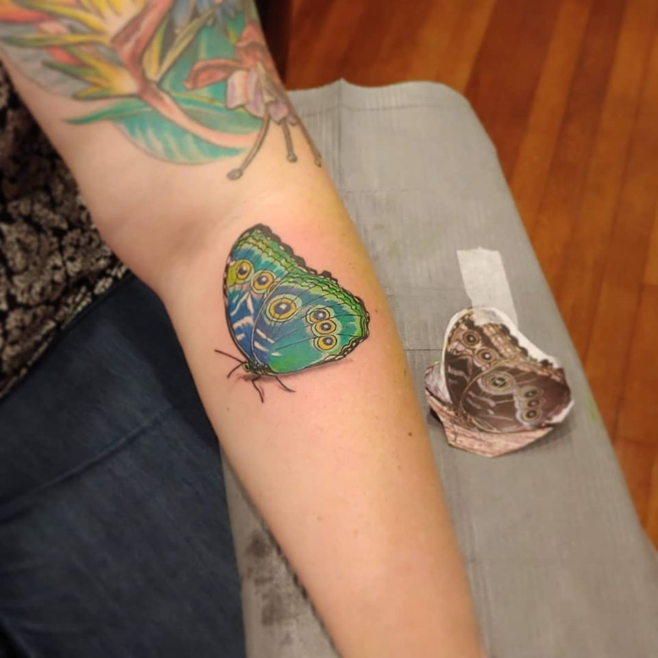 Moth by Chico Lou's Fine Tattoos studio in Athens Georgia GA. Artist - Veronica Hahn