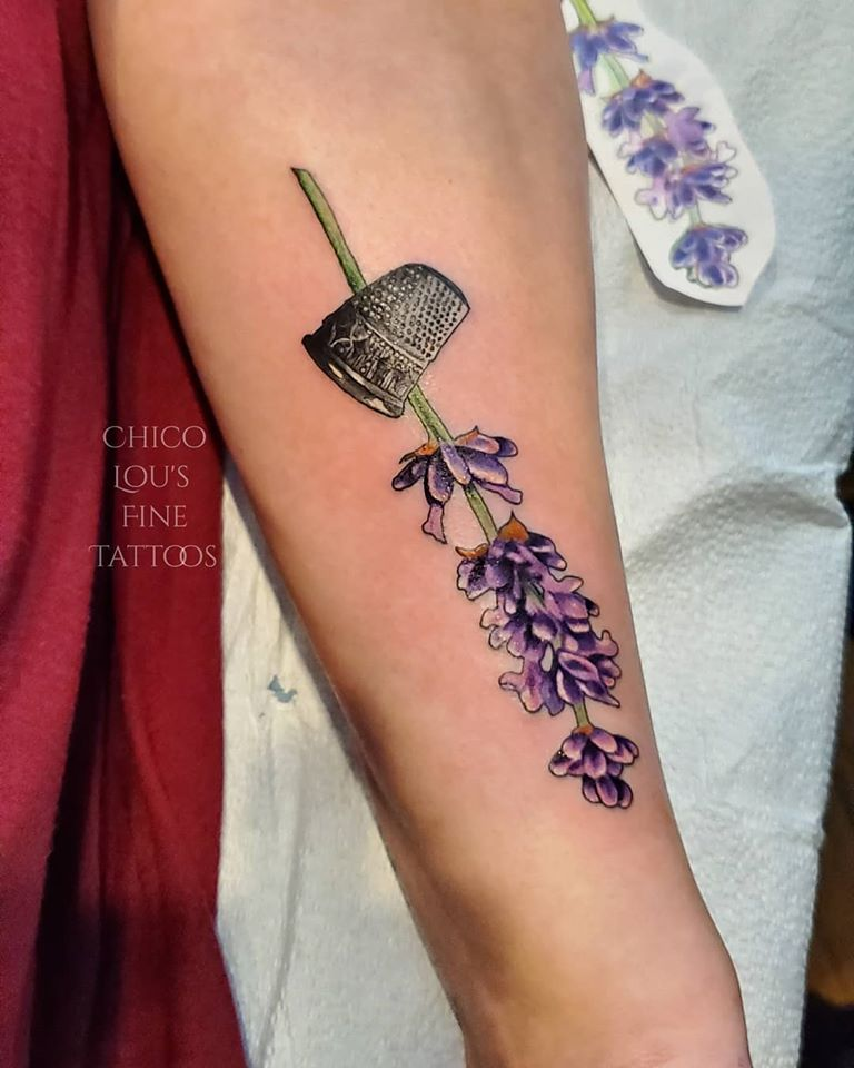 Lavender and thimble by Chico Lou's Fine Tattoos studio in Athens Georgia GA. Artist - Sara Fogle