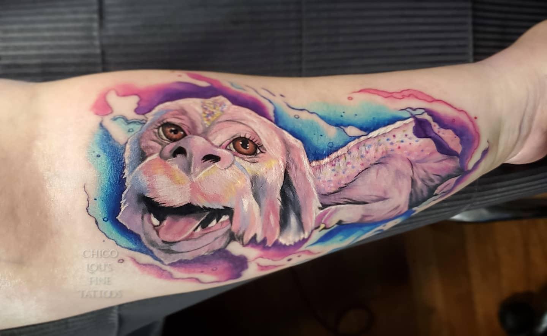 Falkor by Chico Lou's Fine Tattoos studio in Athens Georgia GA. Artist - Sara Fogle