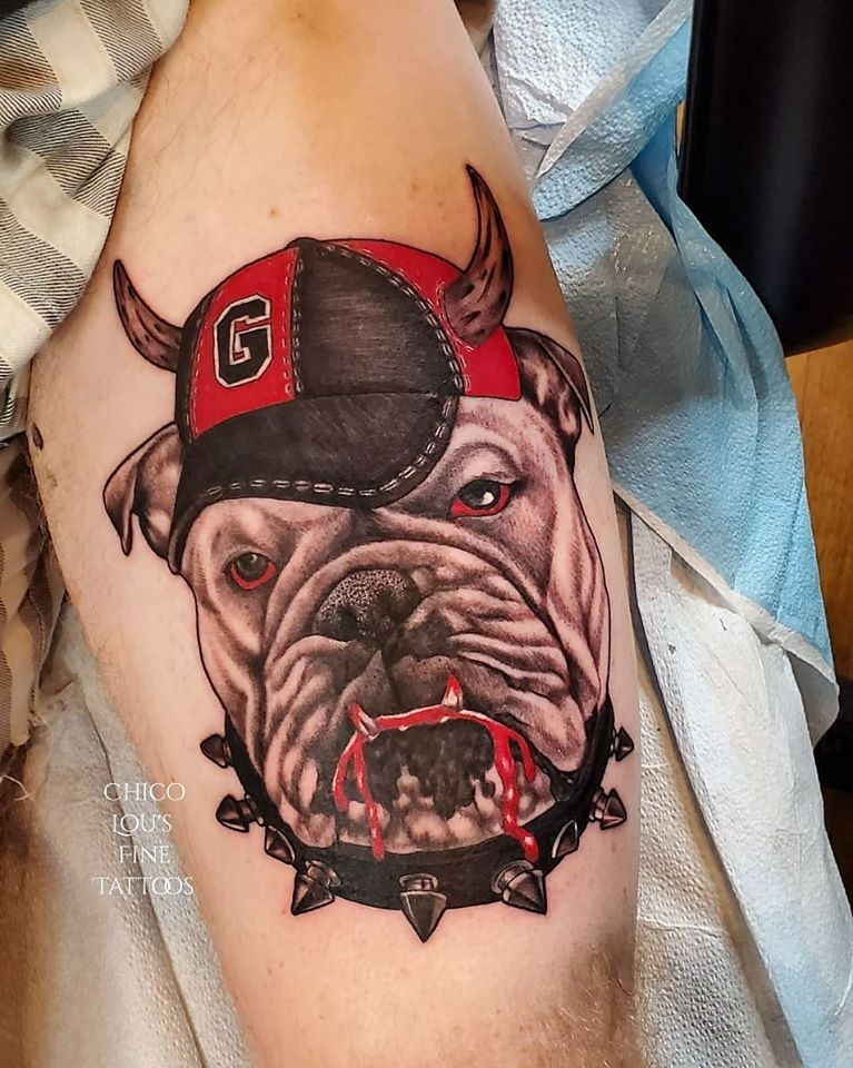 Hail Dawgs by Chico Lou's Fine tattoos studio in Athens Georgia GA. Artist - Sara Fogle