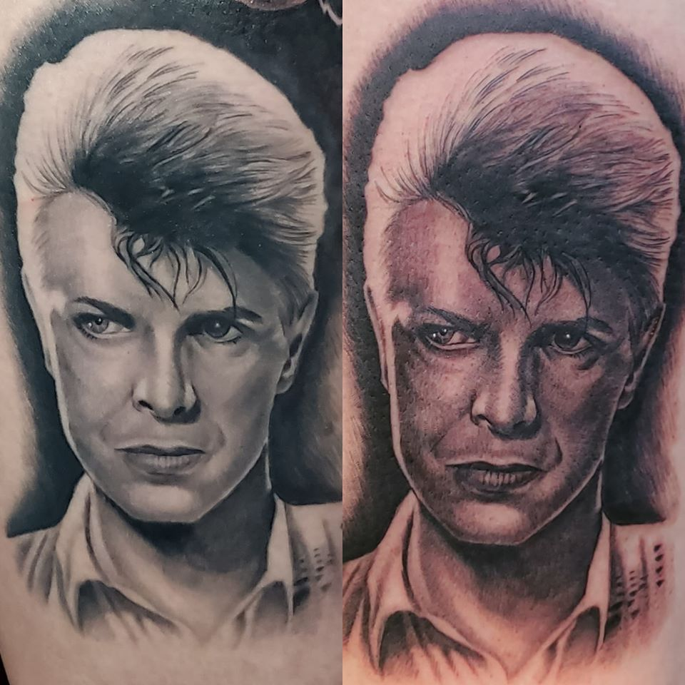 David Bowie healed vs fresh by Chico Lou's Fine tattoos studio in Athens georgia GA. Artist - Sara Fogle