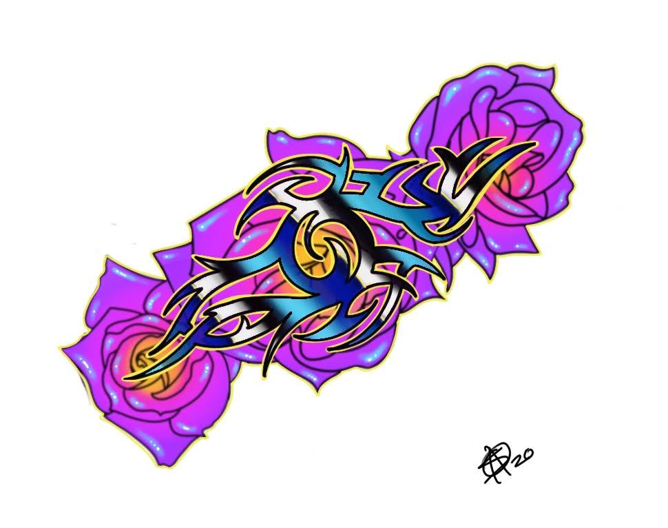 Tribal Roses by Sara M Fogle