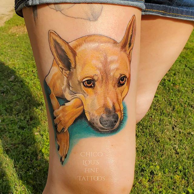 Dog portrait by Chico Lou's Fine tattoos studio in Athens Georgia GA. Artist - Sara Fogle