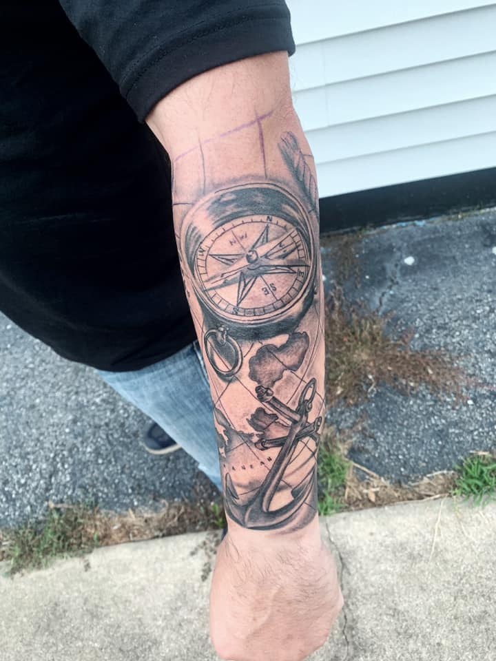 Map and compass by Chico Lou's Fine tattoos studio in Athens georgia GA. Artist - Veronica Hahn