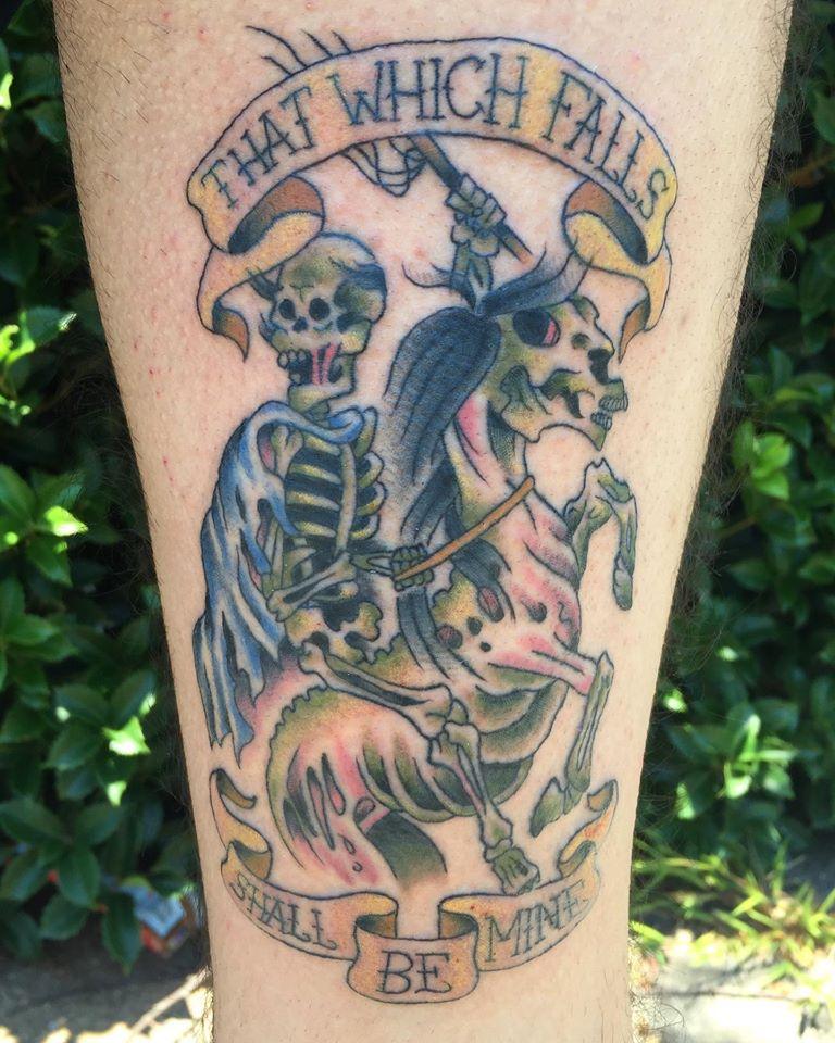 Skeleton horse and rider by Chico Lou's Fine tattoos studio in Athens Georgia GA. Artist - Darya Kalantari