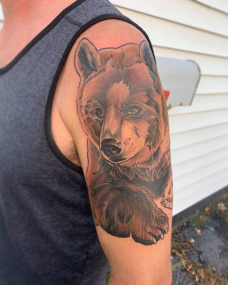 Bear by Chico Lou's Fine tattoos studio in Athens Georgia GA. Artist - Veronica Hahn
